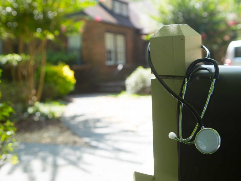Stethoscope on a mailbox.